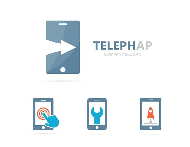 Telefoon en pijl omhoog logo combinatie. Premium Vector