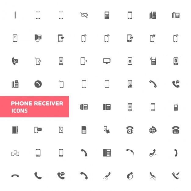 Telefoon icon set Gratis Vector