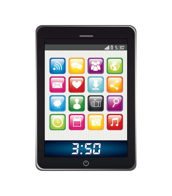 Telefoon met apps geïsoleerde app store vector illustratie Premium Vector