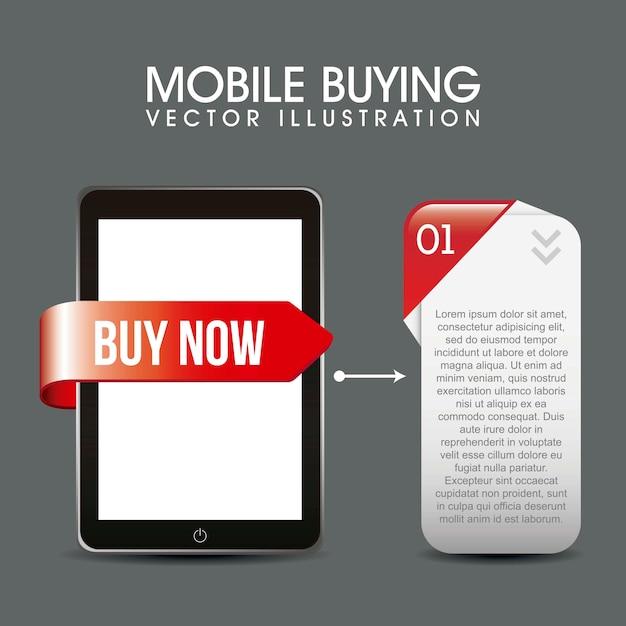 Telefoon met beschrijving vak mobiel kopen vectorillustratie Premium Vector