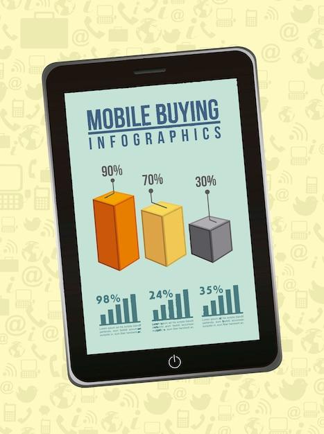 Telefoon met infographics mobiel kopen vectorillustratie Premium Vector
