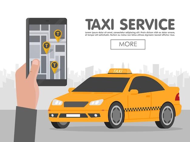 Telefoon met interface taxi op schermsjabloon Premium Vector