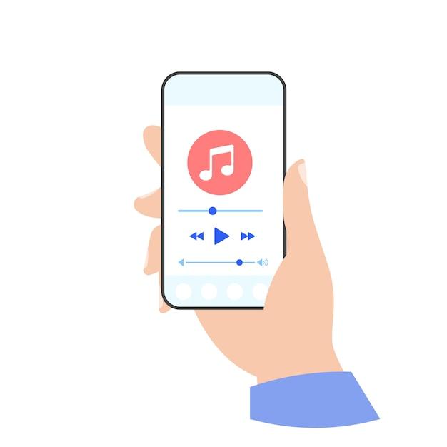 Telefoon muziekspeler in de hand Premium Vector