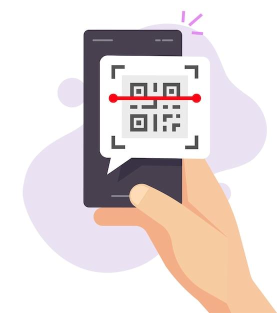 Telefoon scannen qr-code via pictogram van mobiele app Premium Vector