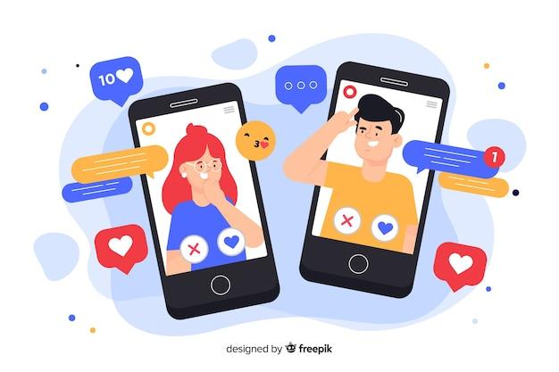 Telefoons omringd door sociale media pictogrammen concept illustratie Gratis Vector