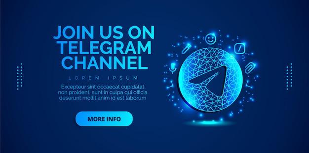 Telegram ontwerp voor sociale media Premium Vector