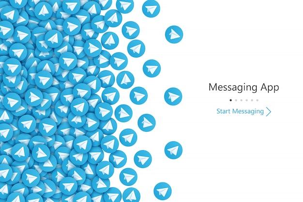 Telegram start screen ui achtergrond Premium Vector