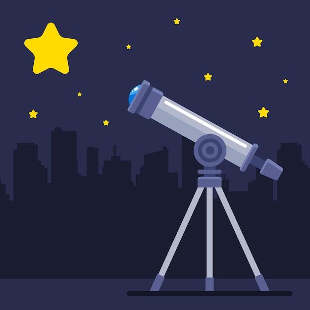 Telescoop observeert een grote gele ster. de ontdekking van een nieuwe planeet. platte vectorillustratie. Premium Vector