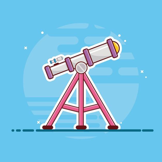 Telescoop pictogram. telescoop, planeet, sterren en aarde, ruimtepictogram wit geïsoleerd Premium Vector