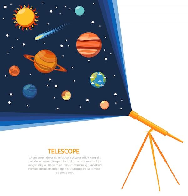 Telescoop zonnestelsel concept poster Gratis Vector