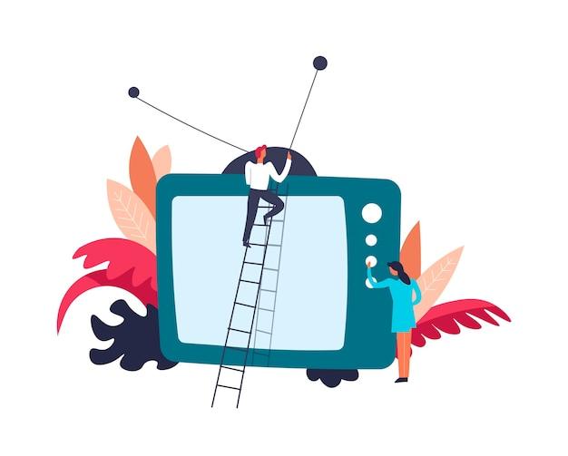 Televisie tv persoon op ladder bevestigingsantenne Premium Vector