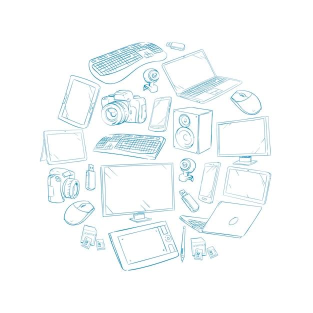 Televisie-video en computerapparaat Premium Vector