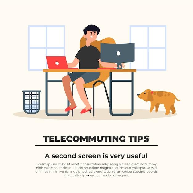 Telewerken tips concept Gratis Vector