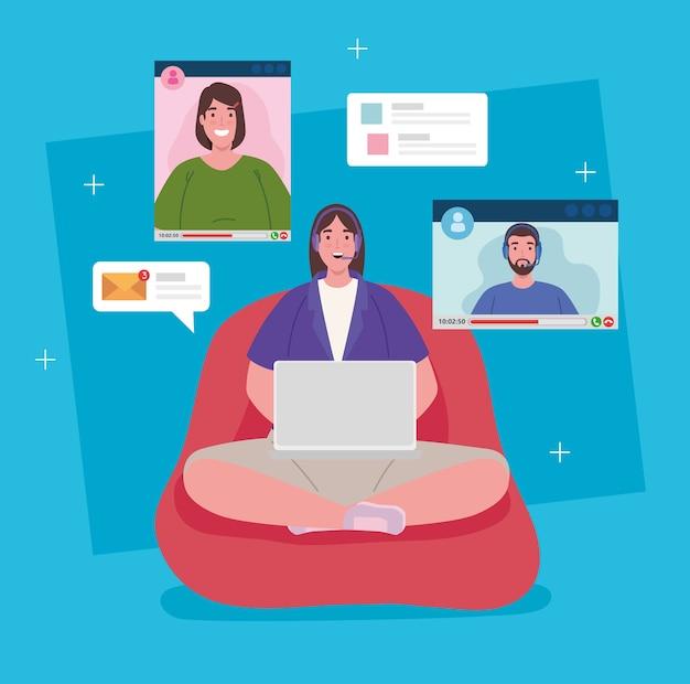 Telewerken, vrouw zitten in poef werken vanuit huis in videoconferentie. Premium Vector