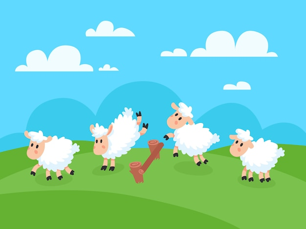 Tellen springende happy cartoon sheeps voor welterusten slapen. Premium Vector