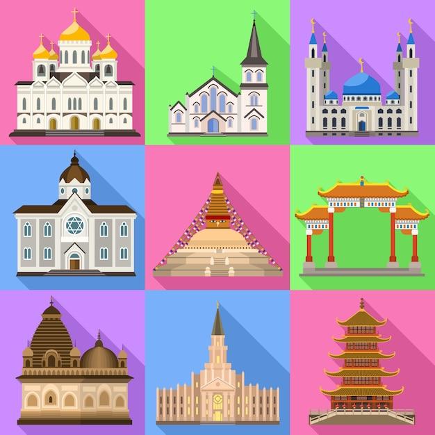 Tempel pictogrammen instellen. platte set van tempel vector Premium Vector