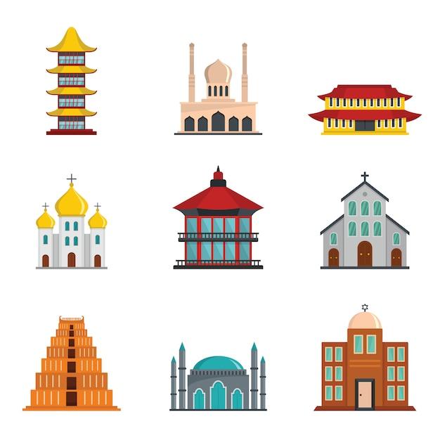 Tempel toren kasteel pictogrammen instellen vlakke stijl Premium Vector