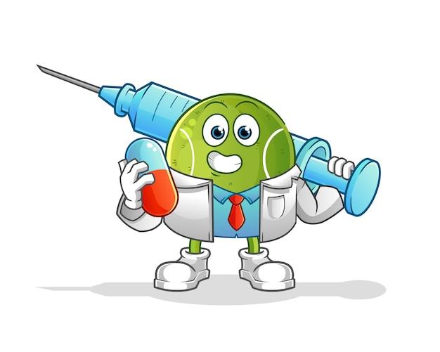Tennis arts medichine en injectie te houden. stripfiguur Premium Vector