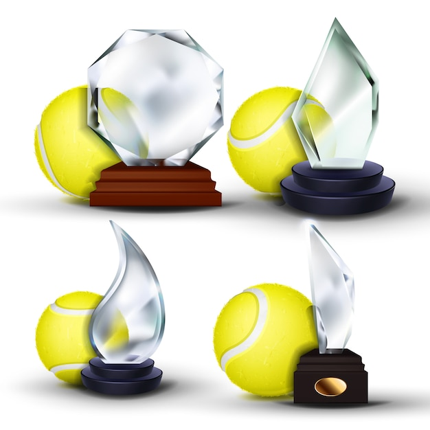 Tennis game award set Premium Vector