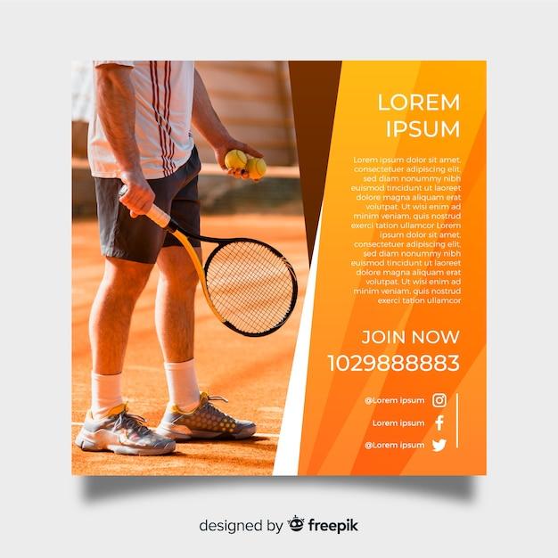 Tennis postersjabloon met foto Gratis Vector