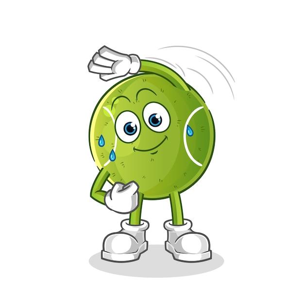Tennis uitrekkende karakter. cartoon mascotte Premium Vector