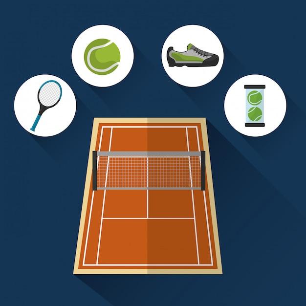 Tennisbaan met sportelementen Gratis Vector