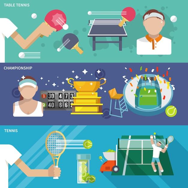 Tennisbannerset Gratis Vector