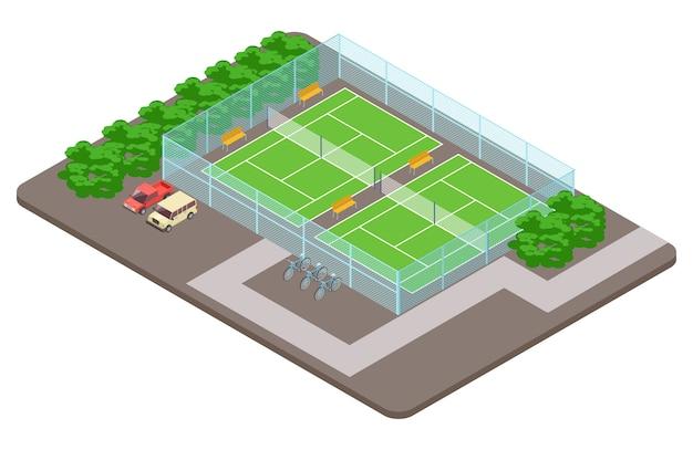 Tennisclub speeltuinen met parkeren isometrisch concept Premium Vector