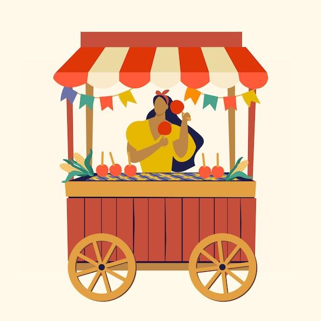 Tent street food cart festa junina braziliaans apple candy june party festival. Premium Vector