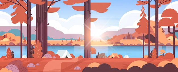 Tenten kampeerterrein in bos zomerkamp concept zonnige dag zonsopgang herfst landschap natuur met water bergen en heuvels Premium Vector