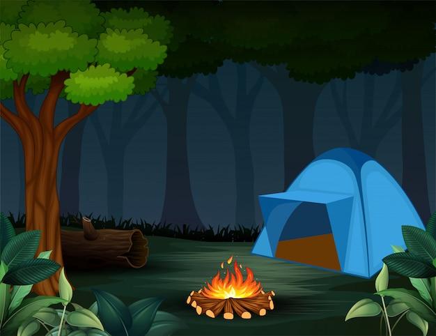 Tenten met vreugdevuur op donkere nacht bosachtergrond Premium Vector