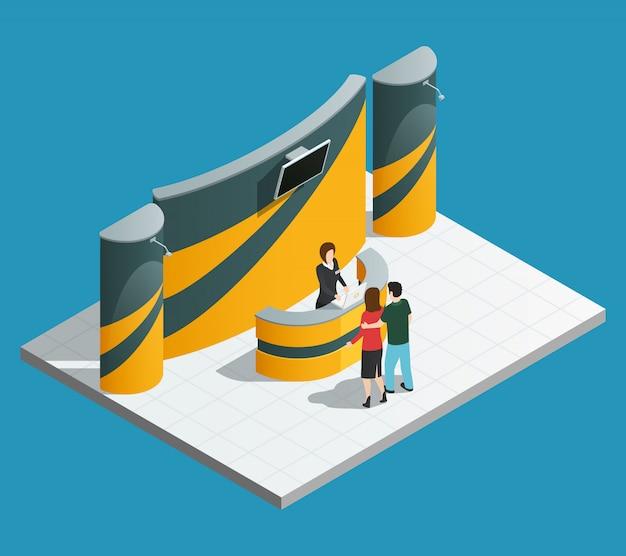 Tentoonstelling promotie stand samenstelling met isometrische promo bureau promotor en bezoekers Gratis Vector