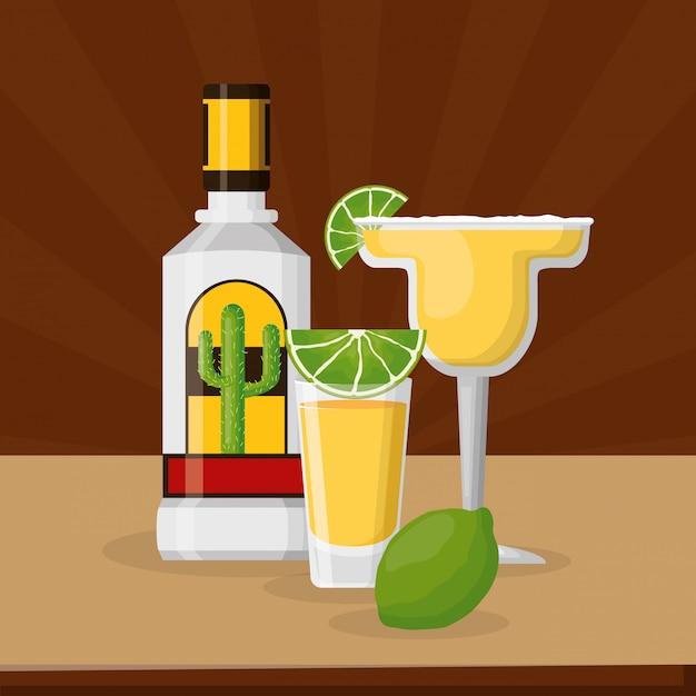 Tequila en citroen met cocktail margarita, mexicaanse viering Gratis Vector