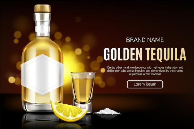 Tequila-fles, borrelglas, zout en citroenplak Gratis Vector
