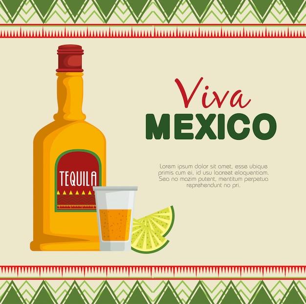 Tequila met cultuur van citroen de traditionele mexico Gratis Vector