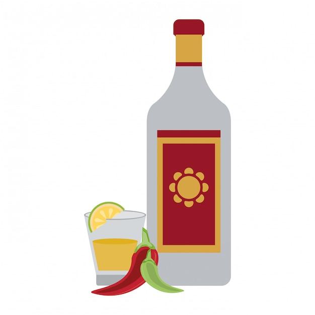 Tequila mexicaanse drank Premium Vector