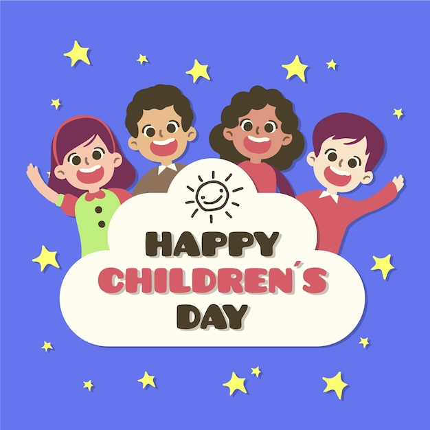 Ter beschikking getrokken de dagconcept van kinderen Gratis Vector