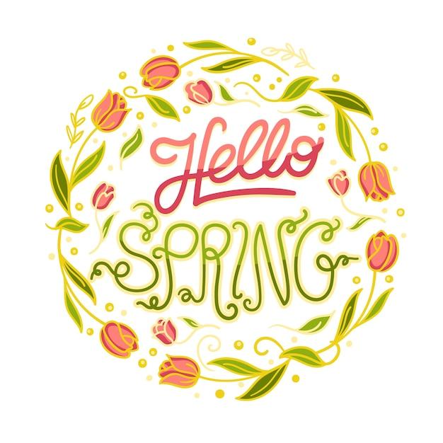 Ter beschikking getrokken de lenteachtergrond Gratis Vector