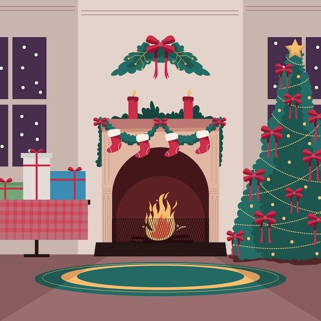Ter beschikking getrokken de scèneconcept van de kerstmisopen haard Gratis Vector