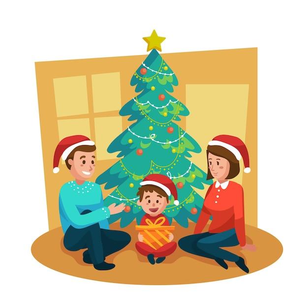Ter beschikking getrokken het concept van de de familiescène van kerstmis Gratis Vector