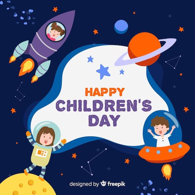Ter beschikking getrokken het concept van de kinderendag Gratis Vector