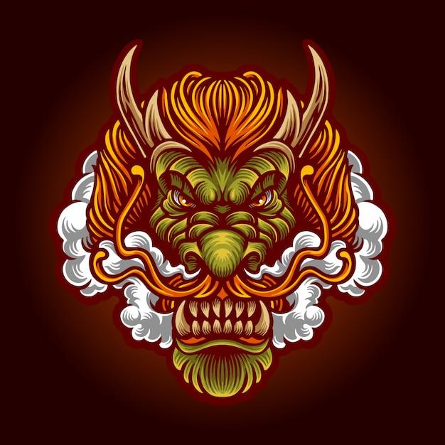 Terra dragon hoofd met rook premium vector illustratie Premium Vector