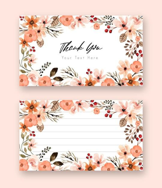 Terracotta bloemen aquarel dank u kaart Premium Vector