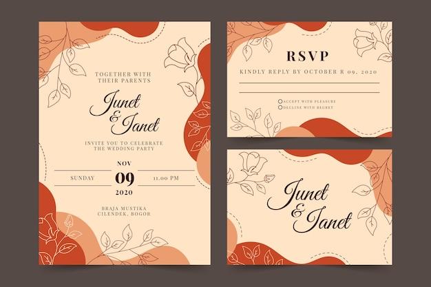 Terracotta bruiloft briefpapier sjabloon Gratis Vector