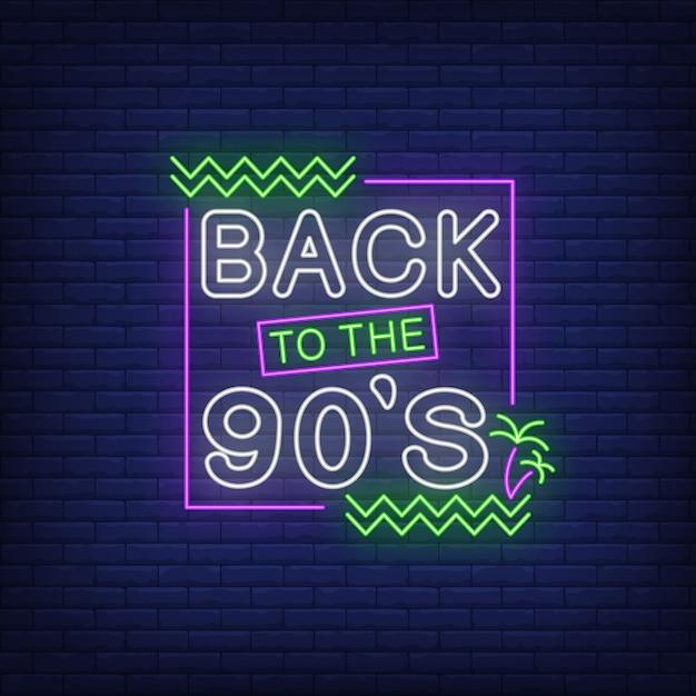 Terug naar jaren 90 neon belettering met palmbomen Gratis Vector