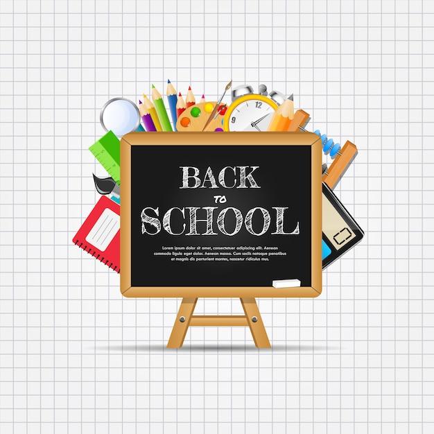 Terug naar school abstracte achtergrond. illustratio Premium Vector