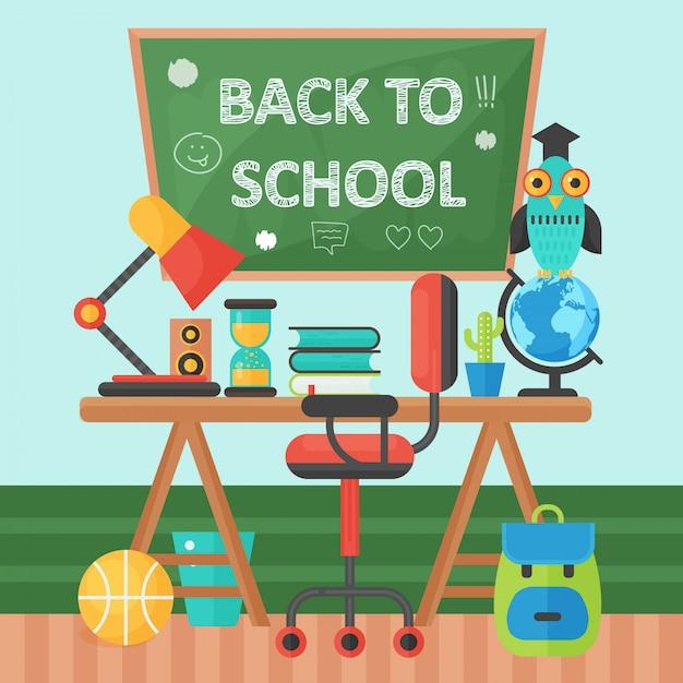 Terug naar school banner schoolbord en leerling tafel Premium Vector