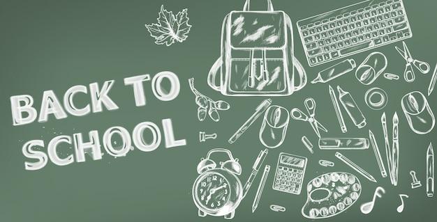 Terug naar school banner. verkoop schoolbenodigdheden promotie adverteren poster. krijt schets tekening texturen Premium Vector