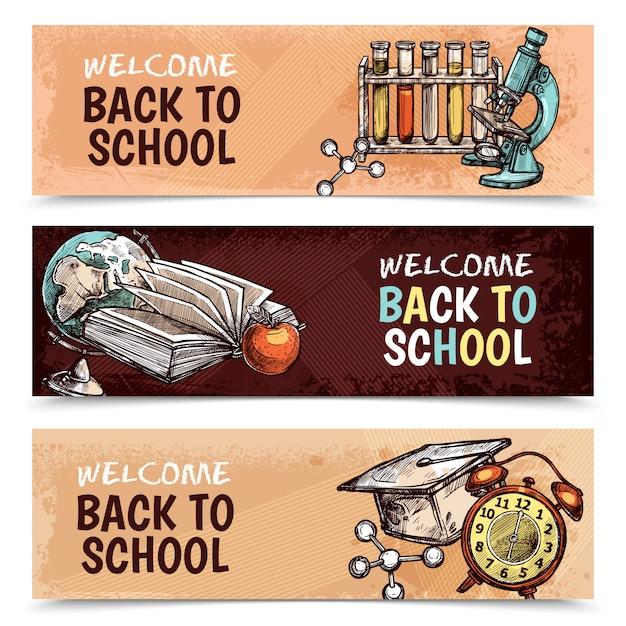 Terug naar school banners Gratis Vector