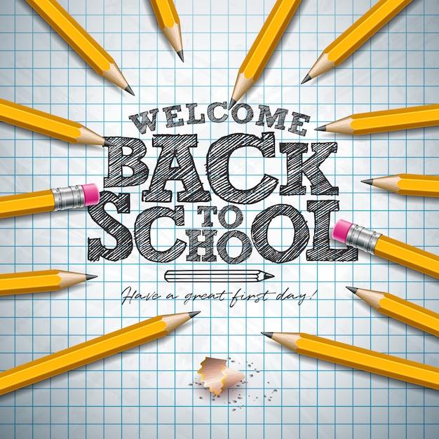 Terug naar school belettering met grafiet potlood en typografie brief op vierkante rasterboekje. Premium Vector